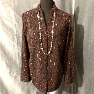 Talbots• Leopard Button Top
